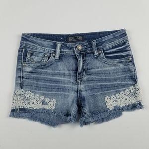Shyanne Denim Shorts Girls Size 16 Floral Lace